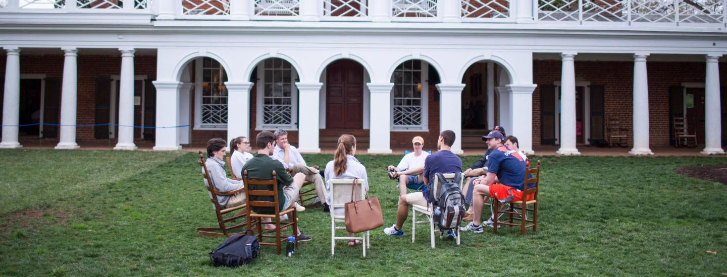 Faculty and student Discussion on the Lawn