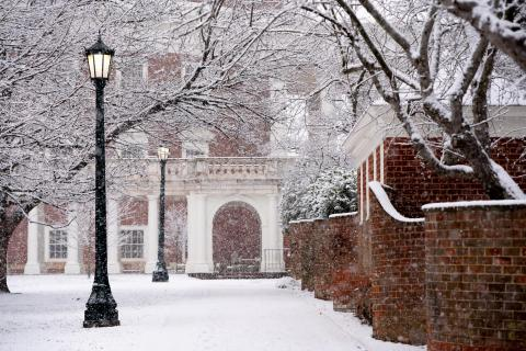 Snow falling on Grounds at UVA